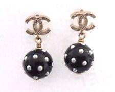 2016 Auth CHANEL Black & White Pearl Dots Gold CC Pierced Earrings BNIB w/ Tag
