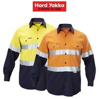 Mens Hard Yakka Work Shirt Hi-Vis Taped Safety Long Sleeve Cotton Drill Y07990