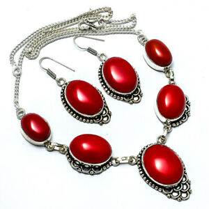 """Red Coral Set, Red Coral Set Handmade Ethnic Style Jewelry Necklace 18"""" JB"""