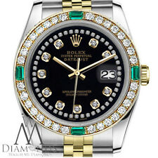 Ladies Rolex 26mm Datejust 2 Tone Black String Emerald Diamond Accent Dial Watch