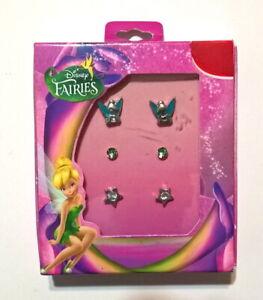 """Disney Fairies """"TINKERBELL"""" 3 Stud Set Earrings - Brand New in Package"""