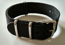 18mm Nato watch Strap Correa Reloj Nylon Pulsera Watchband Black Negra New