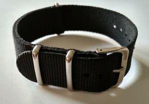 22mm Nato watch Strap Correa Reloj Nylon Pulsera Watchband Black Negra New