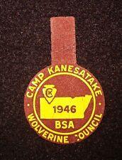 BOY SCOUT   CAMP KANESATAKE   1946 FELT PP  WOLVERINE CNCL MICH