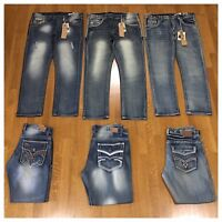 New Mens Size 32 Fashion Denim embroidered Thick Stitch Slim Fit Jeans Pants