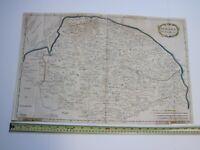 """1695 Robert Morden Large 23x15"""" Camden's Britannia Norfolk Map Engraving England"""