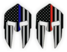 (2) Spartan Helmet Hard Hat Stickers | Firefighter Police Blue Red Line Decals