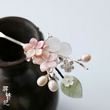 High Quality Chinese Classical Women Hairpin Hair Accessories Natural Pearl Jade