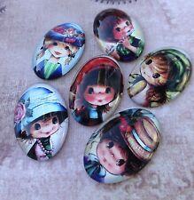 Paquete De 15 Cristal Oval Cabujones Plano Espalda con mezcla de niños chicas Caras