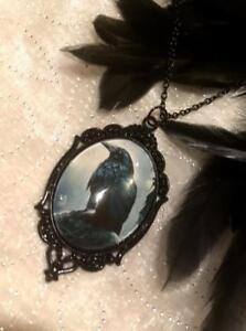 Gothic Raven Large Pendant Necklace Black Statement Wicca Crow Bird Pagan
