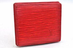 Auth Louis Vuitton Epi Porte Monnaie Boite Wallet Red Coin Case M63697 LV 99930