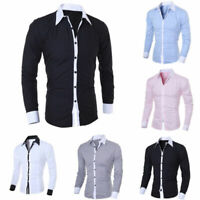Men's Slim Luxury Fashion Fit Shirt Long Sleeve Dress Shirts Casual Shirt Tops