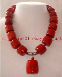 Natural Amazing Red Coral Cylinder Gemstone Beads Necklace 18'' AAA++