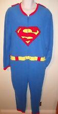 NEW SUPERMAN CAPE SUPERHERO UNION SUIT Fleece BODYSUIT Pajama Sleeper MEN L