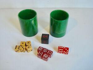 Vintage ~ Bakelite / Catalin ~ Poker Dice, Other Dice & Green Swirl Shaker Cups