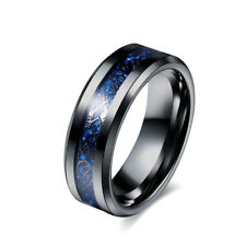 Celtic Dragon Black Stainless Steel Unisex Ring With Blue Underlay Size I To Z+6