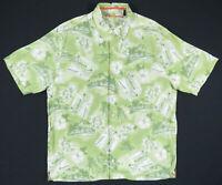 NWOT Reyn Spooner Hawaiian Aloha Palm Fronds Floral Loop Collar Mens Shirt S