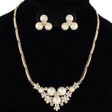 Elegant Bridal Look Crystal Faux Pearl Flower Necklace & Earring Set
