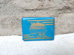 1940s Vintage Blue & Golden Color Rowing Nature Print Tin Cigarette Case Japan
