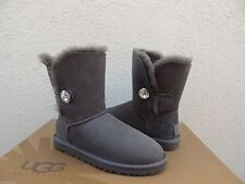 UGG GREY BAILEY BUTTON BLING SUEDE/ SHEEPSKIN BOOTS, US 10/ EUR 41 ~NEW IN BOX