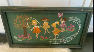 SWEET VINTAGE CREWEL PICTURE FOR  GIRLS ROOM 16 X 12 FARMHOUSE KITCH STYLE