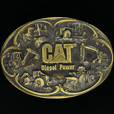 Cat Caterpillar Construction Heavy Equipment Machinery 80s Vintage Belt Buckle