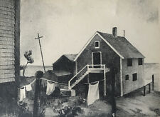 """""""BACK YARD'S PROVINCETOWN"""" vintage lithograph pencil signed Irene R Bucher"""