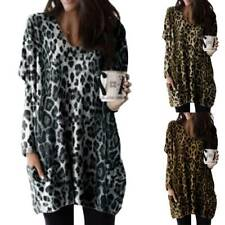 Womens Leopard Print Tunic Top Dress Jumper Baggy Pullover Blouse Plus Size 8-22
