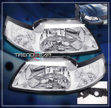 1999-2004 FORD MUSTANG CRYSTAL HEADLIGHT LAMP CLEAR 2000 2001 2002 2003 NEW PAIR