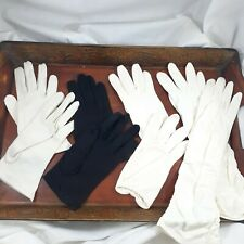 Vintage Gloves 4 Sets size 6 1/2 glove white black short long ladies retro women