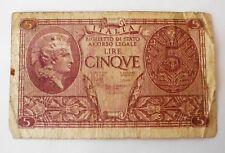BANCONOTA 5 LIRE 1944 REGNO D'ITALIA ANTICHE MONETE MONETA RARA
