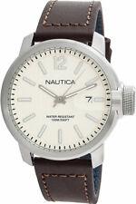 NAUTICA NAPSYD003 Men's WATCH Quartz Analogue with Date DARK BROWN LEATHER NEW