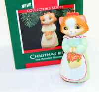 Hallmark Ornament CHRISTMAS KITTY  1st in Series Porcelain Cat Vintage 1989 Box