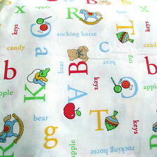Baby Nursery cotton fabric Alphabet toy print words half yard cut 1/2 coordinate