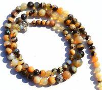 "Natural Gem Australian Boulder Opal Flashy Fire 4 to 8MM Round Bead Necklace 17"""