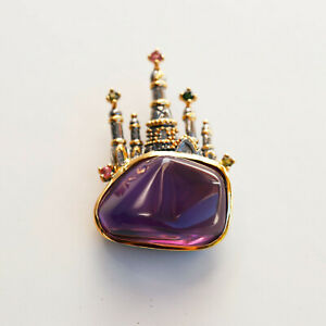 AS10 Retro Style Natural Free Amethyst S925sterling silver Castle pendant/brooch