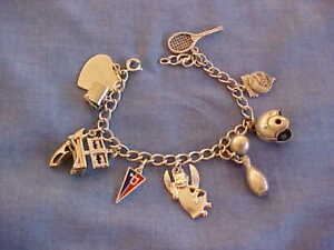 """STERLING SILVER LINKS BRACELET 7"""" FROM 1960 WITH TEN CHARMS ALL MARKED STERLING"""