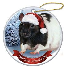 Holiday Pet Gifts Black Hooded Rat Santa Hat Porcelain Christmas Tree Ornament