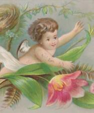 """Victorian Christmas Card Child Angel Chases Yellow Birds Embossed 5.25 x 2.5"""""""