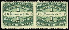RS87d, Imperf Pair Rush's Medicine Stamps MAJOR PLATE SCRATCH - Stuart Katz
