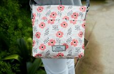 Brand New Earth Squared Pink Flower Oil Cloth Messenger Bag FREE UK SHIPPING