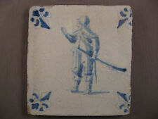 Antique Dutch Tile Soldier with saber 17th - free shipping