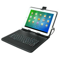 "Stand Leather Case Cover for Android Tablet 9.7"" Universal w/ USB Keyboard"