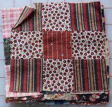 6798 6 antique 1860-70's 9 Patch quilt blocks, madder prints, florals. stripes