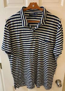 Polo Ralph Lauren Polo Shirt Pocket Blue White Striped Men XXL 2XL Vintage