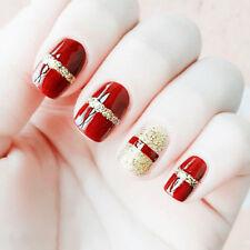 24pcs Red Gold Glitter Fingernail tip Short False Nail Acrylic Full Cover Art