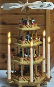 Crèche de Noël complète tournante en bois,TOUR PYRAMIDE  bougeoir manège décor