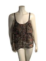 Eliot Floral Tiered 100% Silk Blouse Cami Camisole Tank Top - SZ Small