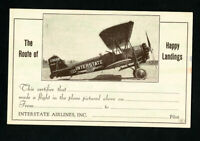 US Card Airlines Early Interstate Plane Pioneer Flight Rare