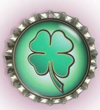 Lucky Four Leaf Clover Bottle Cap Pet Cat Dog Collar ID Tag, Jewellery, Gift